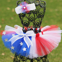 Fourth of July Tutu, Little Girls Tutu Skirt, 4th of July tutu, Newborn, Infant, Toddler- Red, White, Blue