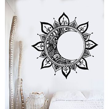 Vinyl Wall Decal Mandala Sun Moon Night Flower Meditation Yoga Bedroom Art Stickers Mural (g2670)