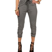 Black/White Stripe Ankle Pants