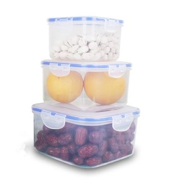 3 Pieces Square Plastic Food Container Storage Box Leak Proof Lunch Box 2200ml & 1130ml & 800ml