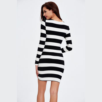 Midi Stripe Open Bust Pencil Dress