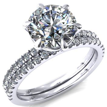 Alessandra Round Moissanite 6 Claw Prong Diamond Accent Engagement Ring