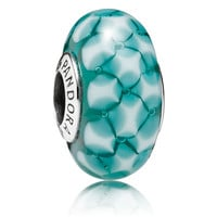 Pandora Teal Lattice Murano Glass Charm