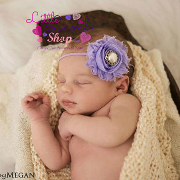 Shabby Baby Headband, Newborn Hair Band, Flower Girl Head bands, Kids Hair Accessories - Newborn Baby Photography prop, Canada