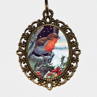 Christmas Robin Necklace, Christmas Jewelry, Robin Bird, Bird Jewelry, Robins, Winter, Christmas Holly, Oval Pendant