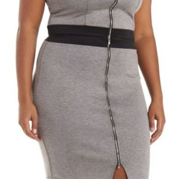 Plus Size Med Gray Combo Zip-Up Pencil Skirt by Charlotte Russe