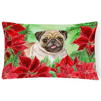 Fawn Pug Poinsettas Canvas Fabric Decorative Pillow CK1365PW1216
