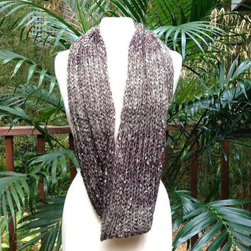 Khaki Brown Ombre Gold Metallic Crochet Infinity Scarf, soft brown tone crochet neck warmer scarf, brown crochet infinity scarf