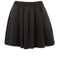 Black Leather-Look Piped Scuba Pleated Skirt