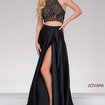 Black long two piece a-line dress with high neck lace top and high slit satin skirt.
