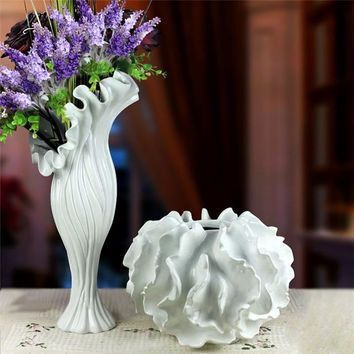 resin large white purple large flower vase sea style for modern home decorations