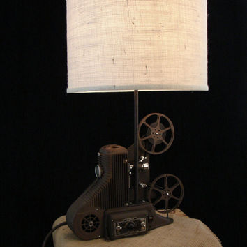 Upcycled Universal 8mm Projector Lamp with Ivory by BenclifDesigns