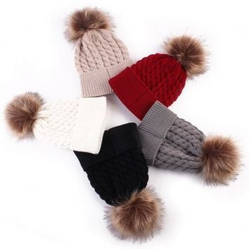 LMFUNT Fashion Toddle Infant Newborn Winter Warmer Baby Knitted Wool Hat Kids Warm Cap Girls Boys Knitted Hats Wool Fur Ball Caps