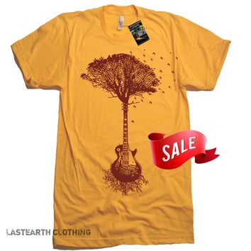 Mens X-LARGE On Sale - Guitar Tree Tee Shirt - Valentines Day Gifts For Him - Fathers Day Gifts - Music Punk Shirt Guitar Tshirt - X-Large