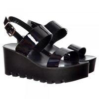 Onlineshoe Cleated Sole Summer Platform Wedge Sandals - Black Patent, Silver Hologram - Onlineshoe from Onlineshoe UK