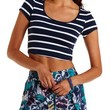 Navy Combo Stretch Cotton Striped Crop Top by Charlotte Russe