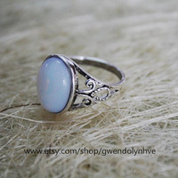 antique silver lady ring Opal jewelry victorian style gift for her