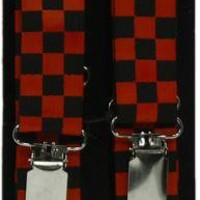 ROCKWORLDEAST - Suspenders, Red & Black Checkered Suspenders