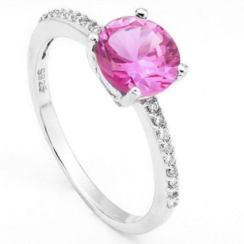 Sterling Silver Round Created Pink Sapphire and CZ Ring