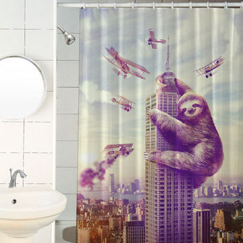 Slothzilla, Sloth, Shower Curtain, Hooks Included
