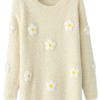 ROMWE | ROMWE Daisy Flower Beige Jumper, The Latest Street Fashion