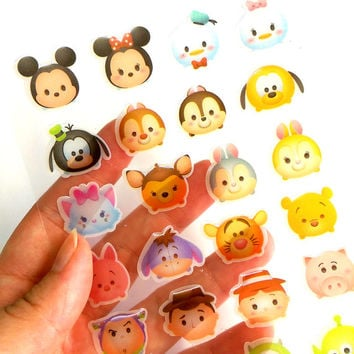 Disney Tsus Tsum Stickers Kawaii Disney Characters TsumTsum Sticker Self Adhensive Resin Transluent Gift Card Seal Scrapbook Album Decals