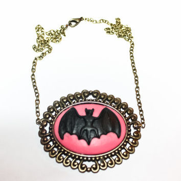 Pink Bat Necklace