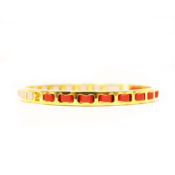 Fendi Pink Red Leather Women's Gold Metal Bangle Bracelet 265152