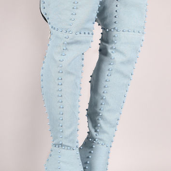 Denim Studded Pointy Toe Stiletto Over-The-Knee Boots | UrbanOG