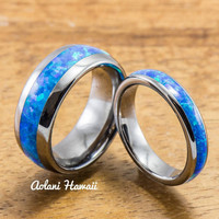 Wedding Band Set of Tungsten Rings with Opal Inlay (8mm & 4mm width, Barrel Style)