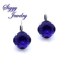 Swarovski® Crystal Earrings, Purple Velvet 12mm Cushion Cut, Deep Rich Dark Purple, Square Crystals, Studs Or Drops, Assorted Finishes