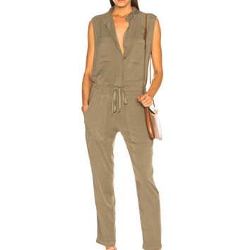 Enza Costa Sleeveless Jumpsuit in Military | FWRD