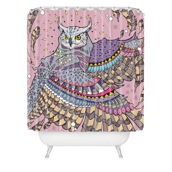 Geronimo Studio Great Horned Owl In Pink Shower Curtain