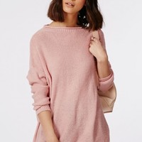 Missguided - Tila Slouch Oversize Knitted Jumper Pink