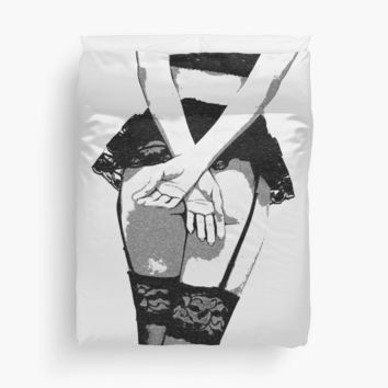 'STOP, foreplay first ;)' Duvet Cover by piciareiss