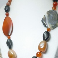 Red Carnelian Agate Black Onyx Large Bold Gemstone Beaded Necklace