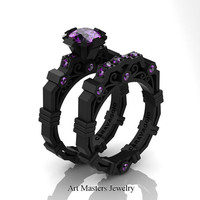 Caravaggio Modern 14K Black Gold 1.0 Ct Amethyst Engagement Ring Wedding Band Set R624S-14KBGAM