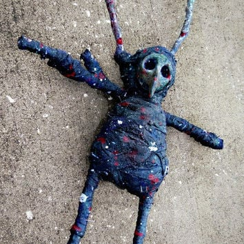 Large Voodoo / Hoodoo Doll: 20 Inches - Magic, Spells, Macabre, Black Death, Bird, Alien, OOAK, Odd, Strange, Weird.