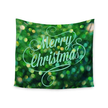 "Robin Dickinson ""Merry Christmas"" Green Wall Tapestry"