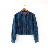 Vintage plaid denim shirt. Cropped jean shirt. Button up shirt. Preppy shirt.