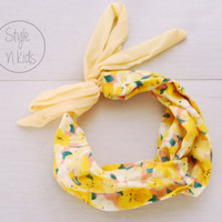 Yellow Flower Turban Headband Tie at the Back Headband Flower Baby Chiffon Headband Toddler Headband Adult Headband