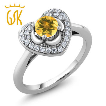 Wedding Natural Yellow Citrine Heart & Flower Women Ring 925 Sterling Silver Fine Jewelry Engagement Gem Stone King