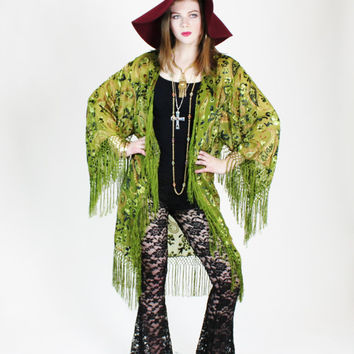HUGE DISCOUNT 35% OFF 1970s Sheer Burnout Velvet Green Paisley Fringe Kimono