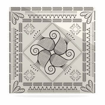 """Famenxt """"Paisley Into The Dream"""" Beige Pattern Luxe Square Panel"""