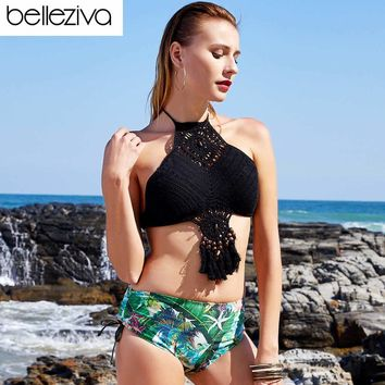 Belleziva Sexy Knitted Halter Wooden Bikini Set Bead Fringe High Neck Floral Print Backless Women Swimwear Swimsuit Bathing Suit