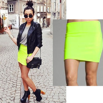 Neon yellow handmade mini skirt
