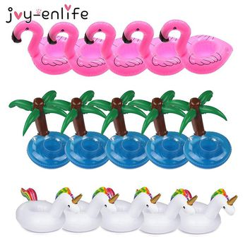 JOY-ENLIFE 15pcs/lot Flamingo Unicorn Inflatable Cup Holder Drink Floating Party Beverage Boats Pool Hawaii Beach Party Supplies