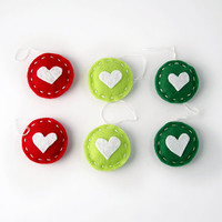 Christmas gift tags, hearts tags, red & green holiday decor, holiday gift wrap, Christmas decorations, festive home decor, set of 6