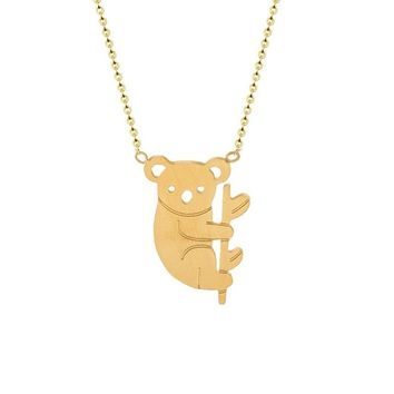 Small Koala Bear and Branch Shaped Necklace for Women
