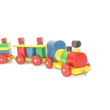 Colorful Wooden Train Set Pull Toy